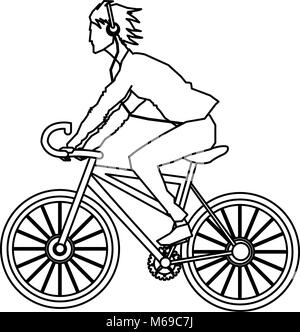 Man riding a bike - Stock Photo