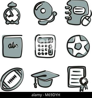 University Icons Freehand 2 Color - Stock Photo