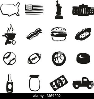 USA Icons Freehand Fill - Stock Photo