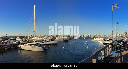 Panoramic view of the Port of Punta Del Este at summer, day light, Uruguay. - Stock Photo