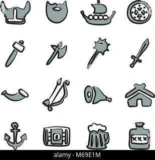 Viking Icons Freehand 2 Color - Stock Photo