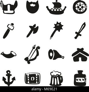 Viking Icons Freehand Fill - Stock Photo