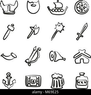 Viking Icons Freehand - Stock Photo