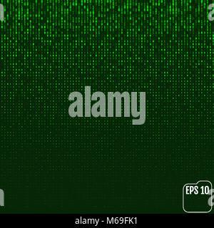 Binary code green neon glow matrix. Vector - Stock Photo