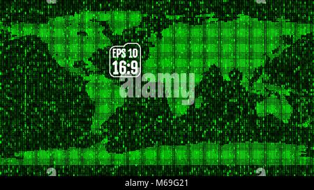 World map built from data and numbers. Binary code. Vector illustration. - Stock Photo