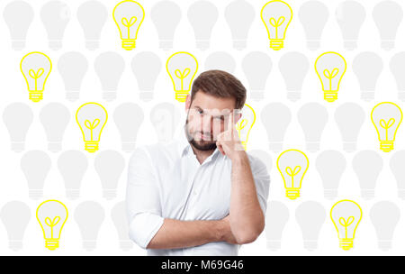 Business Man Having An Bright Idea Light Bulb Concept Handsome Thinking And Dreaming