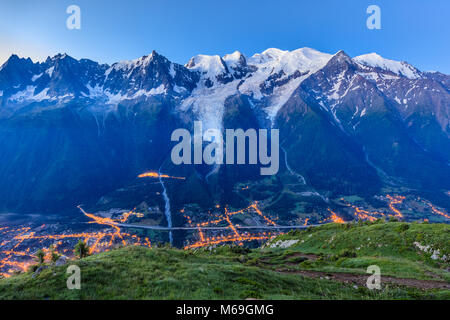 Chamonix valley in the morning. Mont Blanc, France - Stock Photo
