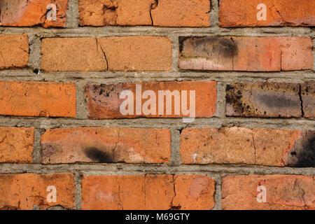 Background texture old red brick masonry wall - Stock Photo