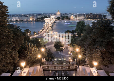 Chain bridge view from Castle Hill Funicular in Budapest - Stock Photo