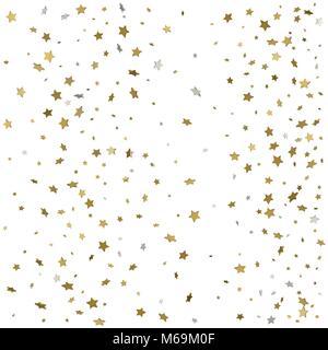 Gold glitter Confetti stars background. Scatter on bottom made of gold glittering confetti stars. Scatter bottom - Stock Photo