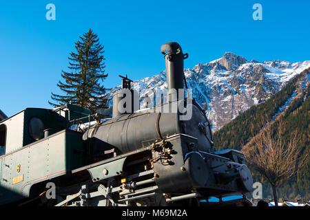 Steam Engine From Cog Rail Line On Display. Train Station Chamonix Montenvers, Mer De Glace. Mont Blanc, Auvergne - Stock Photo
