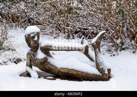 Snow scene. Sculpture in the town hall park, Troinex, Tomorrow I go to the printing press, how many copies of the book Climate Change do you want?