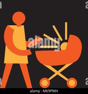 happiness of motherhood, mom with the stroller - Stock Photo