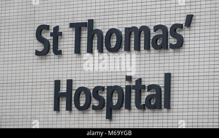 London, UK. 1st Mar, 2018. UK Weather: St Thomas' Hospital in the City of London, London, England on 1 March 2018. - Stock Photo