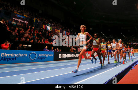 London, UK. 1st Mar, 2018. Genzebe Dibaba (2nd L) of Ethiopia competes during the women's 3000m final during the - Stock Photo