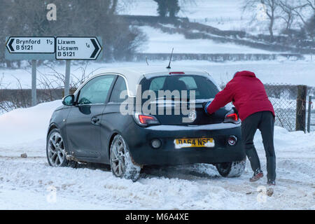 Lixwm, Flintshire, Wales, UK 2nd March 2018, UK Weather:  Storm Emma bringing stormy blizzard conditions in the - Stock Photo