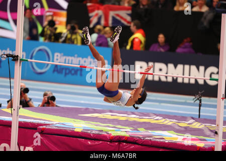 Birmingham, UK. 2nd Mar, 2018. Katarina JOHNSON-THOMPSON GREAT BRITAIN competes in the high jump during the IAAF - Stock Photo