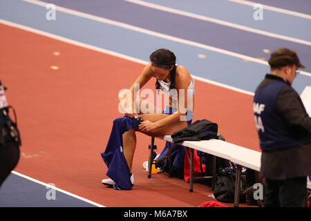 Birmingham, UK. 2nd Mar, 2018. Katarina JOHNSON-THOMPSON GREAT BRITAIN prepares to jump during the IAAF World Indoor - Stock Photo