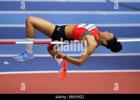 Birmingham, UK. 2nd March, 2018. Birmingham, UK. 2nd Mar, 2018. Caroline Agnou (SUI) in Women's High Jump Pentathlon - Stock Photo