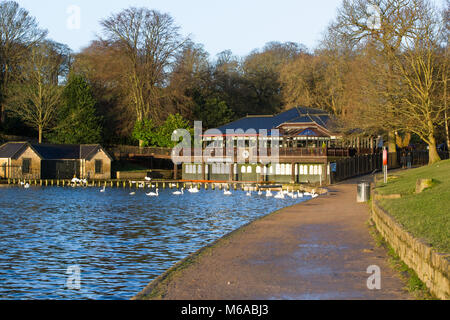 Photograph of the boathouse, cafe and coffee shop at Roundhay Park in Leeds, West Yorkshire.  Taken during the early - Stock Photo