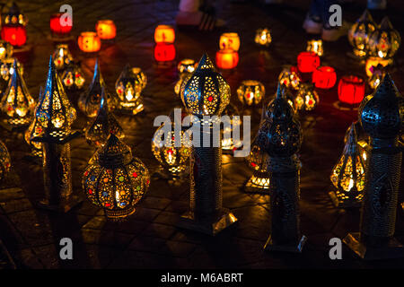 Display of colourful oriental lamps in the market in Marrakesh, Morocco - Stock Photo