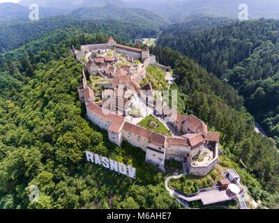 Rasonov Fortress in near Brasov and Bran Romania, Transylvania - Stock Photo