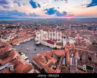 Aerial view of Sibiu, Romania, at sunset - Stock Photo