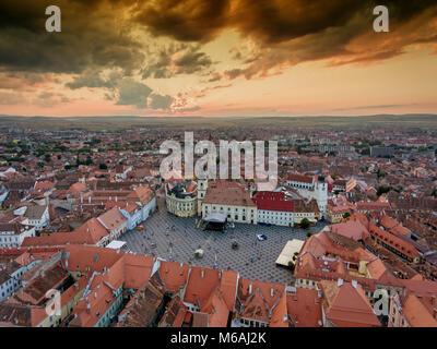 Sibiu Romania aerial view at sunset - Stock Photo