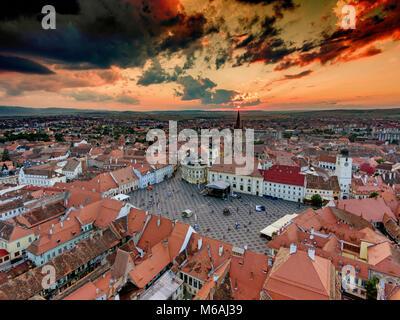 Sunset in Sibiu Hermannstadt Romania - Stock Photo