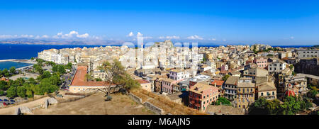 Corfu from above. Panoramic view over the old city of Corfu, the capital of the island. Also known as Kerkyra in - Stock Photo