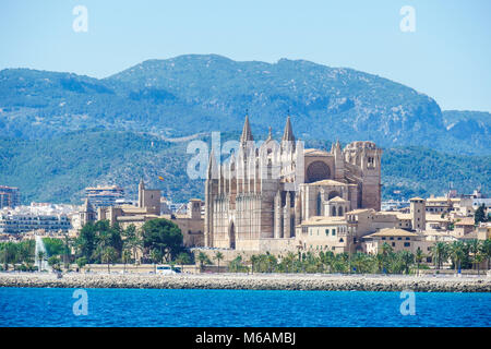 Palma de Mallorca, Spain. La Seu, view form the sea. Famous medieval gothic catholic cathedral in the capital of - Stock Photo