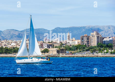 Palma de Mallorca, Spain. View from the sea with boath on a hot summer day. - Stock Photo