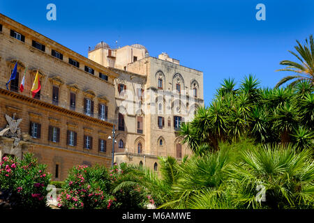 Palace of the Normans, Palazzo Reale or Palazzo dei Normanni, Palermo, Sicily, Italy - Stock Photo