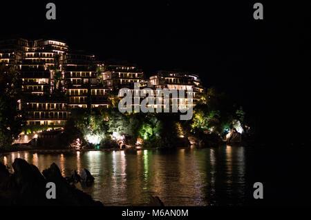 Night Shot of Hotel in Budva at Budva Riviera, Montenegro - Stock Photo