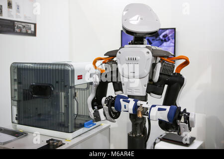 Hanover, Germany. 21th March, 2017. CeBIT 2017, ICT trade fair: Industry robot NEXTAGE by Kawada Robotics (Japan), - Stock Photo