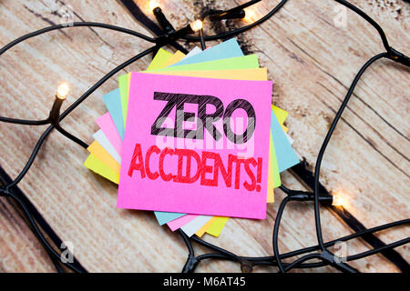 Handwriting Announcement text showing Zero Accidents. Business concept for Safety At Work Hazard written on the - Stock Photo
