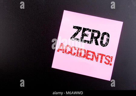 Word, writing Zero Accidents. Business concept for Safety At Work Hazard written on sticky note, black background - Stock Photo