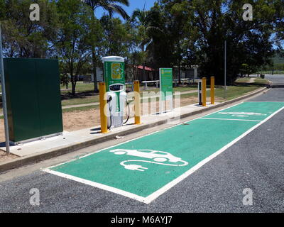 A recharging station for two electric vehicles located in a rural country town in Queensland, Au - Stock Photo