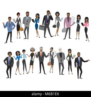 set of different african american businessman and business woman characters,avatars or app icons in trendy flat - Stock Photo
