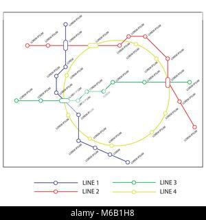metro or subway map design template. city transportation scheme concept. rapid transit vector illustration - Stock Photo
