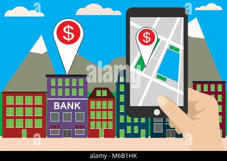 Mobile navigation concept vector illustration. Smartphone with gps city map on screen - Stock Photo