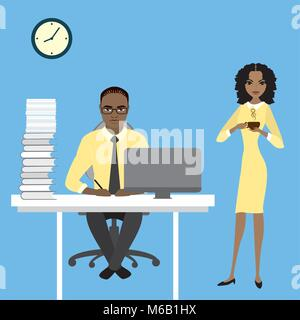 Secretary brought the coffee cup to the chief.Cartoon stock vector illustration. - Stock Photo