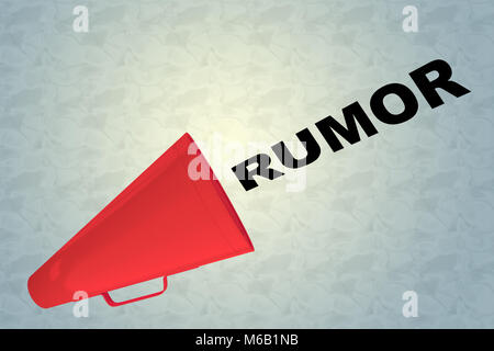 3D illustration of RUMOR title flowing from a loudspeaker - Stock Photo