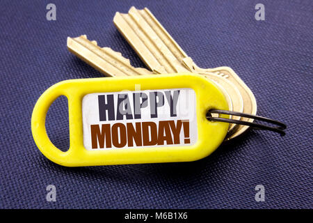 Handwriting Announcement text showing Happy Monday . Business concept for New Week Motivation Written key holder - Stock Photo