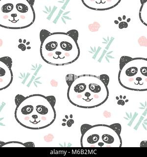 Childish seamless pattern with cute panda and bamboo. Creative texture for fabric - Stock Photo