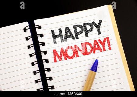 Handwriting Announcement text showing Happy Monday . Business concept for New Week Motivation written on notepad - Stock Photo