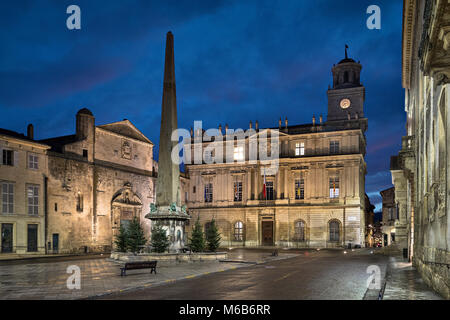 Town Hall of Arles and Place de la Republique square at dusk in Arles, Bouches-du-Rhone, France - Stock Photo