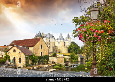 deserted street in French village - Stock Photo
