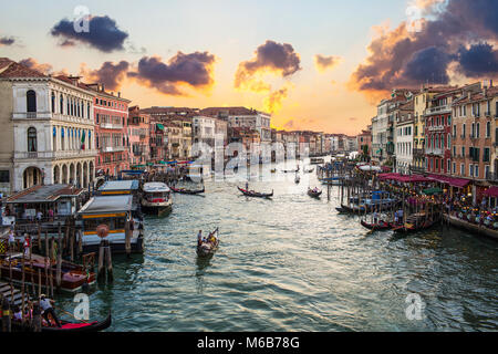A Sunset Panoramic View from Rialto Bridge Venice Italy with Grand Canal - Stock Photo