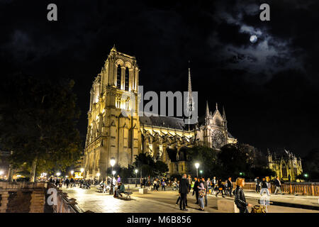 Late night view of Notre Dame Cathedral taken from the Pont au Double bridge on the Ile de la Cite under a full - Stock Photo